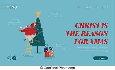 ano, natal, feliz, feliz, caráteres, presentes, xmas, decorando, segurando, claus, aterragem, site web, template., esquema, ilustração, página, árvore., novo, feriados, santa, vetorial, inverno