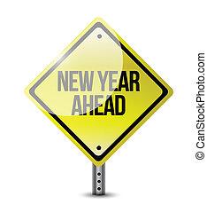 ano novo, à frente, sinal estrada, ilustração