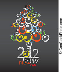 ano, novo, árvore, abstratos