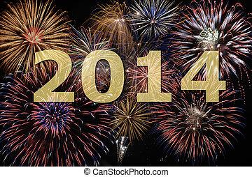 ano novo, 2014, com, fogo artifício