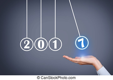 ano novo, 2017, energia, conceito, sobre, cabeça humana