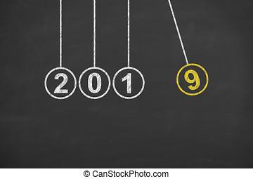 ano novo, 2019, energia, conceito, ligado, quadro-negro, fundo