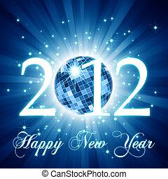 ano novo, cartão cumprimento