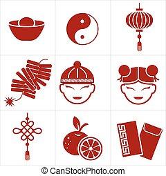 ano novo, chinês, ícone
