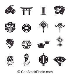 ano novo, chinês, ícones