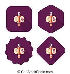 ano novo chinês, apartamento, ícone, com, longo, sombra,...