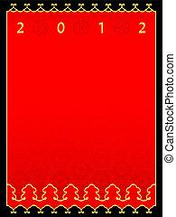ano novo, chinês, cartão, 2012