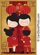 ano novo, chinês, celebração