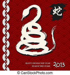 ano novo chinês, de, a, cobra