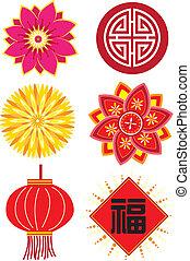 ano novo, chinês, elementos