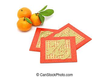 ano novo chinês, laranjas mandarin, e, vermelho, pacotes