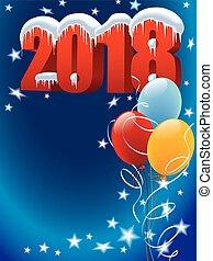 ano novo, decoração, com, balões