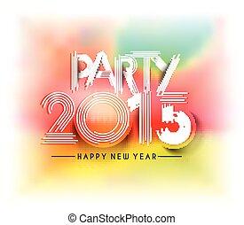 ano novo, desenho, cartaz, partido