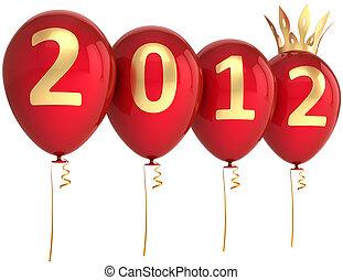 ano, novo, feliz, balões, vermelho, 2012