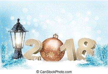 ano novo, fundo, com, um, 2018, e, ball., vector.