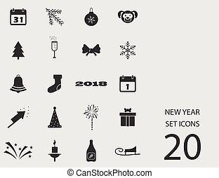 ano novo, jogo, de, apartamento, icons., vetorial, ilustração
