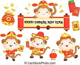ano novo, macaco, chinês, traje