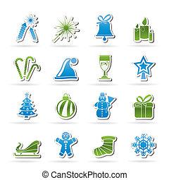 ano novo, natal, ícones