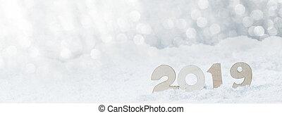 ano, novo, neve, 2019