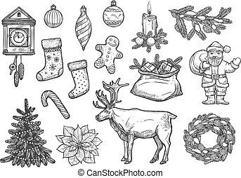 ano, novo, ornamentos, natal, esboço