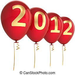 ano, novo, partido, balões, vermelho, 2012