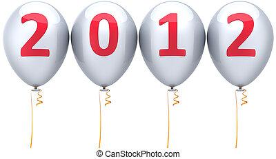 ano, novo, partido, branca, balões, 2012