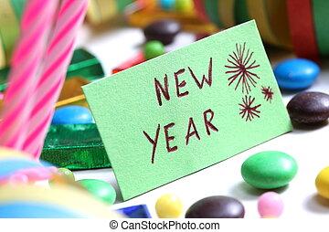 ano novo, partido, cartão