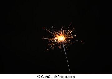 ano novo, partido, sparkler