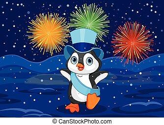 ano novo, pingüim