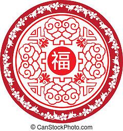 ano novo, redondo, chinês, ícone