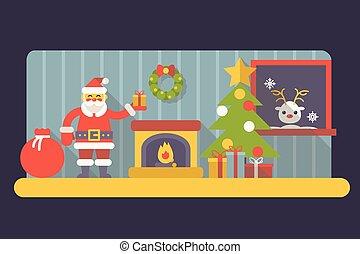 ano novo, sala, papai noel, com, caixa presente, e, saco, natal, acessórios, ícones, trendy, modernos, apartamento, desenho, modelo, vetorial, ilustração