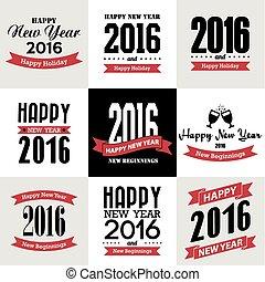 ano novo, tipográfico, feliz, desenho