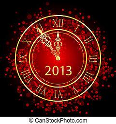 ano novo, vermelho, ouro, relógio