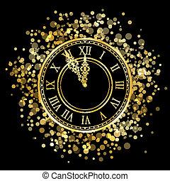 ano, novo, vetorial, brilhante, relógio