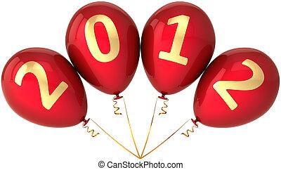 ano, véspera, partido, novo, balões, 2012