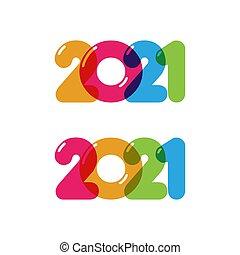 ano, vetorial, novo, ícone, 2021, ilustração