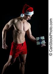 ano, xmas., santa, feriados, inverno, red., simplesmente, pronto, best., tu, novo, feliz, holidays., hat., claus, homem, presente, shopping., natal, partido., excitado, muscular, man., sales.