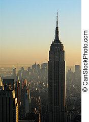 anochecer, edificio, aéreo, primer plano, encima, estado, imperio, manhattan, vista
