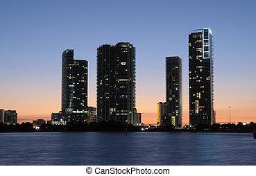 anochecer, edificios, highrise, estados unidos de américa,...