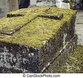 anochecer, estilo, Cruces, cementerio, Lápidas, gótico