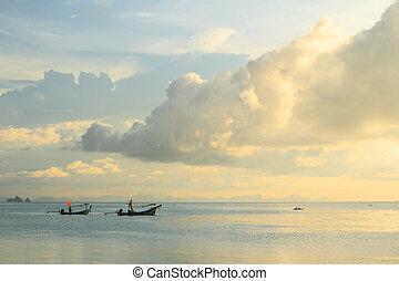 anochecer, isla, samui, tailandia, vista marina
