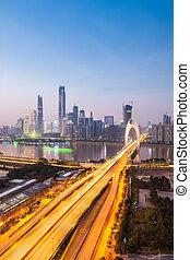 anochecer, puente, guangzhou, liede