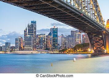 anochecer, puente, puerto de sydney, magnificencia