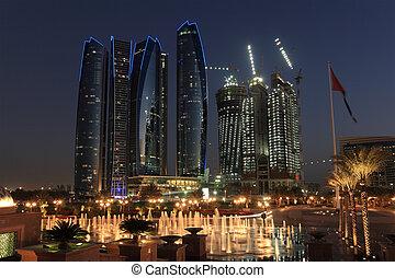 anochecer, unido, rascacielos, árabe, dhabi, emiratos, abu