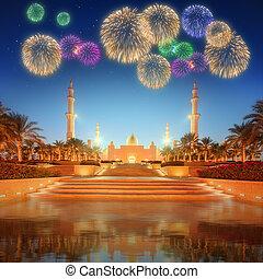 anochecer, zayed, mezquita, jeque, magnífico, abu-dhabi