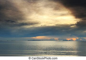 anoitecer, céu, tropicais, dramático, mar, praia, pôr do sol