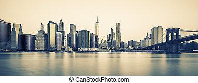 anoitecer, cidade, processando,  photogeaphic,  midtown,  York, Novo,  Manhattan, especiais