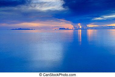 anoitecer, pôr do sol, céu, tropicais, dramático, mar, praia, exposição