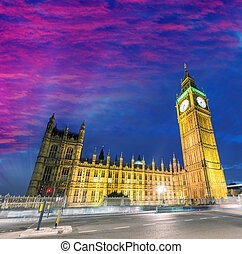 anoitecer, parlamento,  Ben, grande, casas, Londres