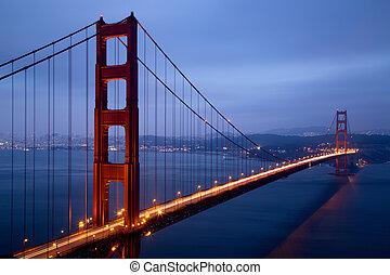 anoitecer, ponte, francisco, iluminado, portão dourado, san